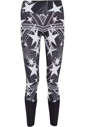 Bodyism Woman I Am Starry Mesh-Paneled Printed Stretch Leggings Black