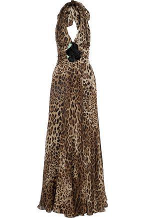 Dolce & Gabbana Woman Floral-AppliquéD Gathered Leopard-Print Silk-Chiffon Halterneck Gown Animal Pr In Animal Print