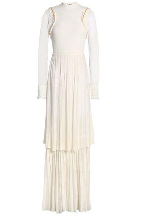 Roberto Cavalli Woman Tiered Embellished Pleated Stretch-Knit Gown Ivory