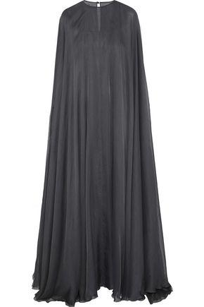 Valentino Woman Cape-Effect Silk-Blend Chiffon Gown Dark Gray