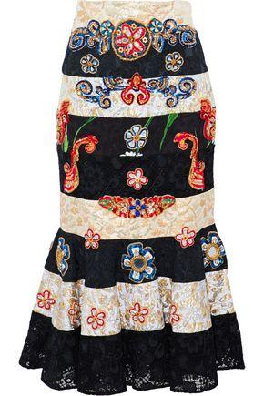 Dolce & Gabbana Woman Embellished Brocade-Paneled Guipure Lace Midi Skirt Black