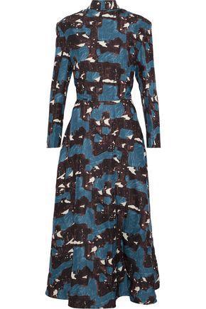 Marni Woman Printed Silk-Faille Midi Dress Multicolor