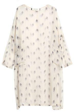 Marni Woman Printed Silk-Gauze Mini Dress Ecru