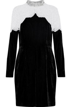 Sandro Woman Junie Lace Paneled Velvet Mini Dress Black