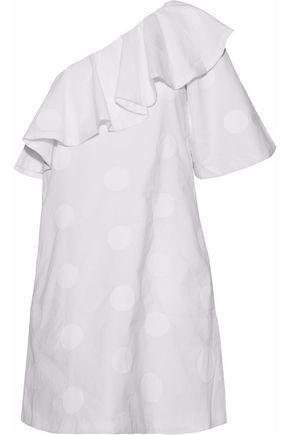 Paper London Woman Chichi One-Shoulder Embroidered Cotton-Poplin Mini Dress White