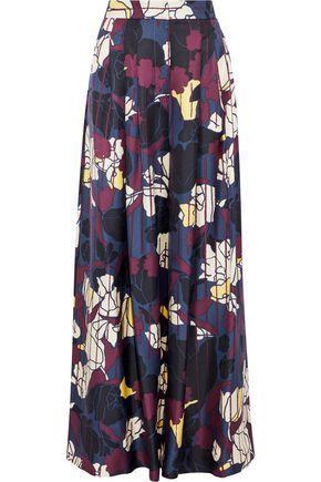 Roksanda Woman Pleated Printed Silk-Twill Wide-Leg Pants Navy
