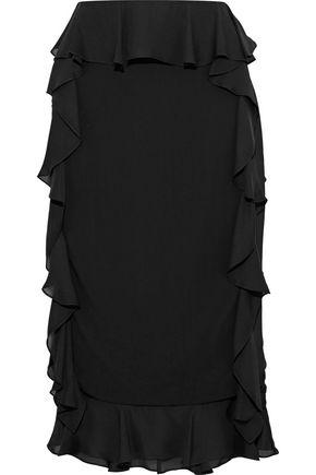 Cushnie Et Ochs Cushnie Woman Romina Ruffled Georgette-paneled Stretch-crepe Skirt Black