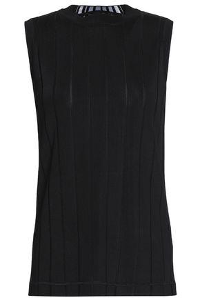 Alexander Wang Woman Ribbed Intarsia-Knit Tank Black