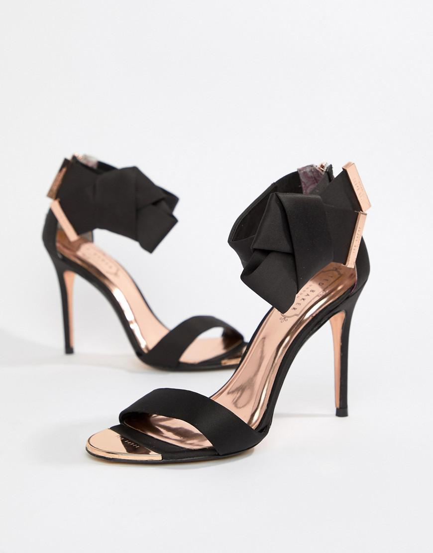 57f0928d777 Ted Baker Black Satin Bow Detail Heeled Sandals - Black