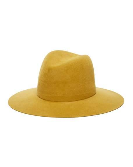 Janessa Leone Emile Fedora Rabbit Felt Hat In Gold