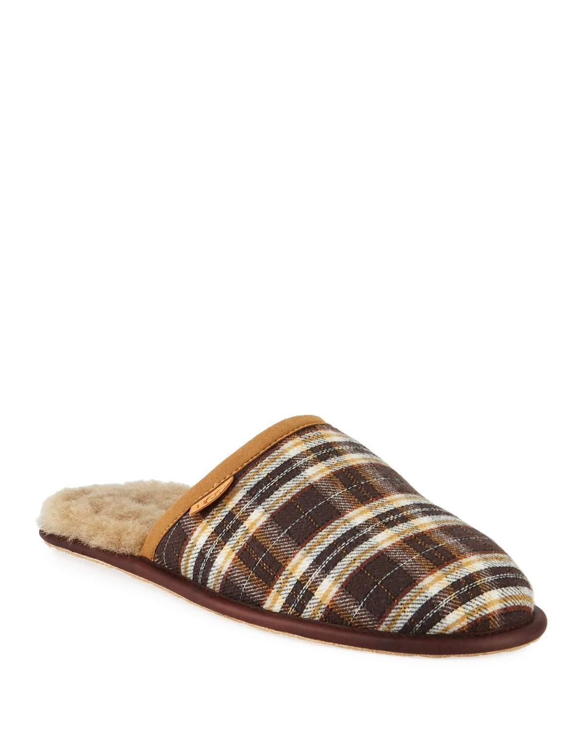 2bef1645850 Men's Scuff Plaid Leather Slippers in Chestnut