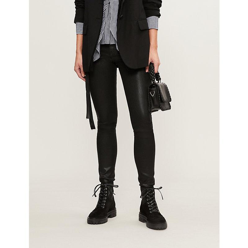 e8ef431bf0299 Rag & Bone Coated High-Rise Skinny Jeans In Shiny Black | ModeSens
