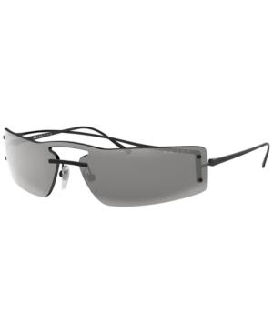 Prada Rainbow Wrap Rectangle Sunglasses In Black / Grey Mirror Black
