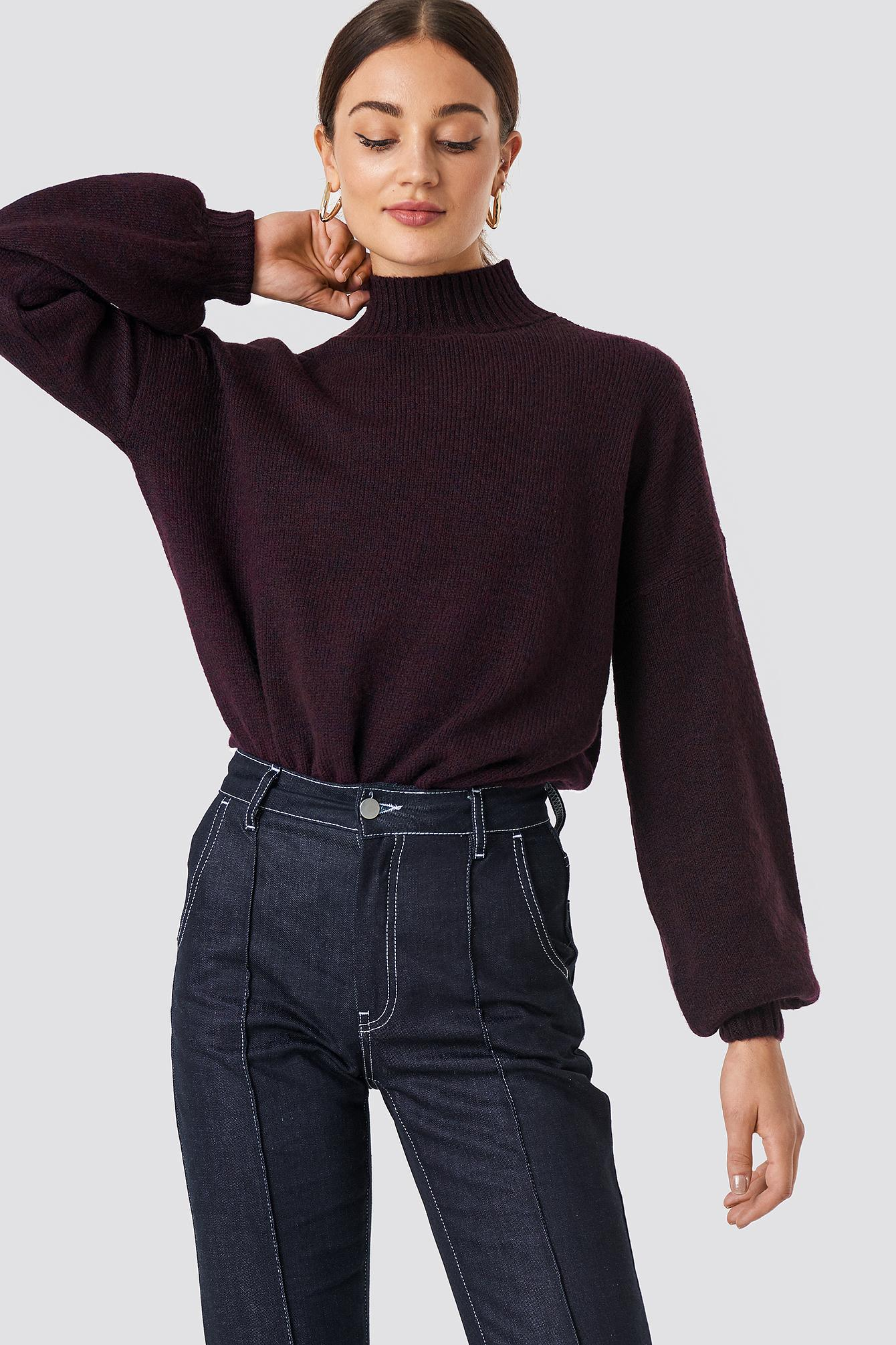 3333c1f0fd9a6b Na-Kd High Neck Balloon Sleeve Knitted Sweater Purple In Burgundy ...