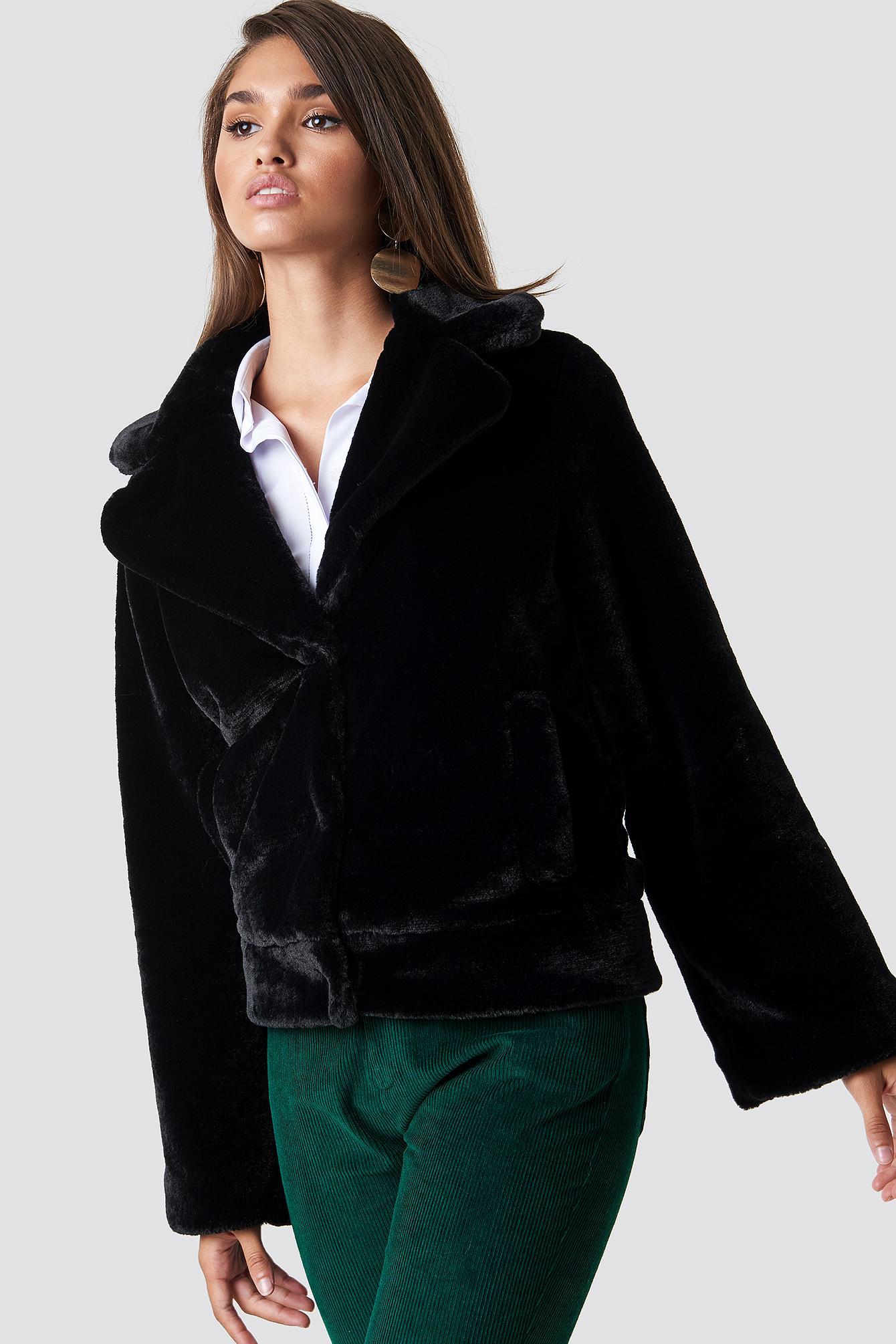 Na-Kd Wide Sleeve Faux Fur Jacket - Black