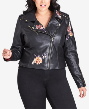 3d20c1689 Trendy Plus Size Embroidered Faux-Leather Moto Jacket in Black
