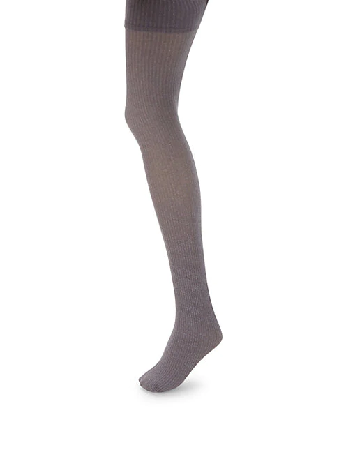 Dkny Ribbed Tights In Sterling Heather