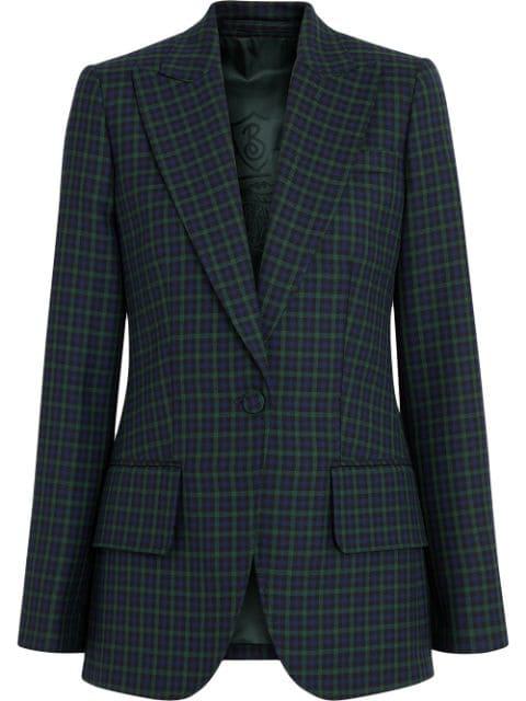 Burberry Check Stretch Wool Blazer In Blue