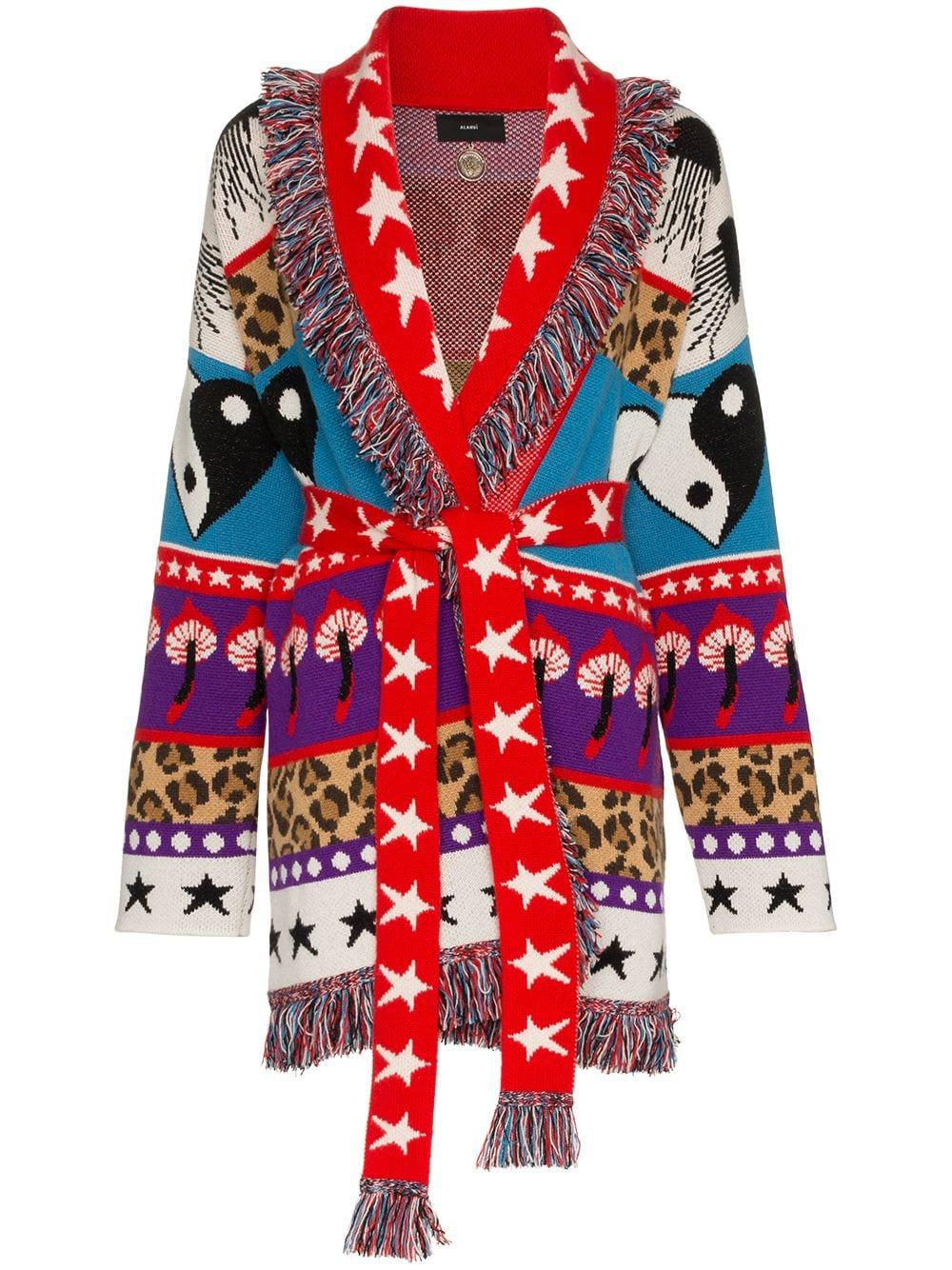 a639af68b Alanui Psychedelic Mushrooms Cardigan - 9099 Red Multicolor | ModeSens
