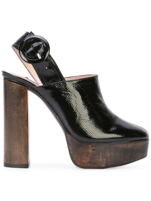 Leandra Medine High Block Heel Mules - Black