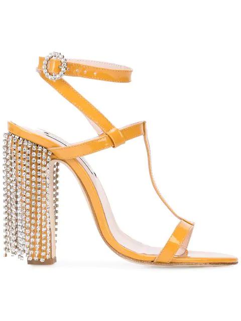 Leandra Medine Embellished Heel Sandals In Yellow