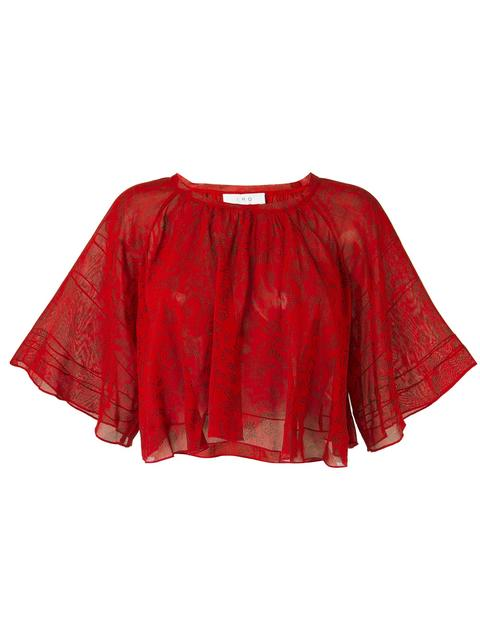 Iro Cropped Lace Blouse In Red