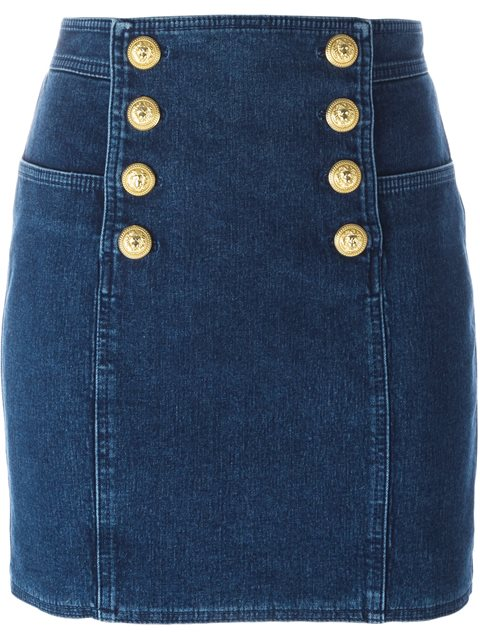 2f91a934f5 Balmain Denim Skirt With Embossed Buttons In Llue | ModeSens