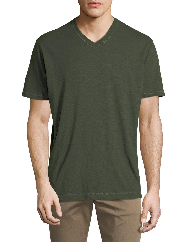 Robert Graham Men's Albie V-Neck Short-Sleeve Cotton Knit T-Shirt In Olive
