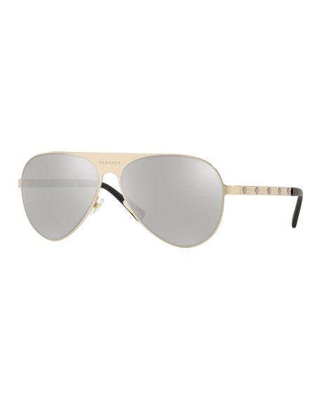 8df0ef4a8e6d Versace Men s Mirrored Medusa Head Aviator Sunglasses In Gold