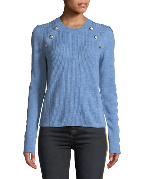 Veronica Beard Simi Wool Button-Shoulder Raglan Sweater In Blue