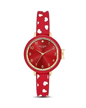 Kate Spade Park Row Silicone Strap Watch, 34Mm In Red