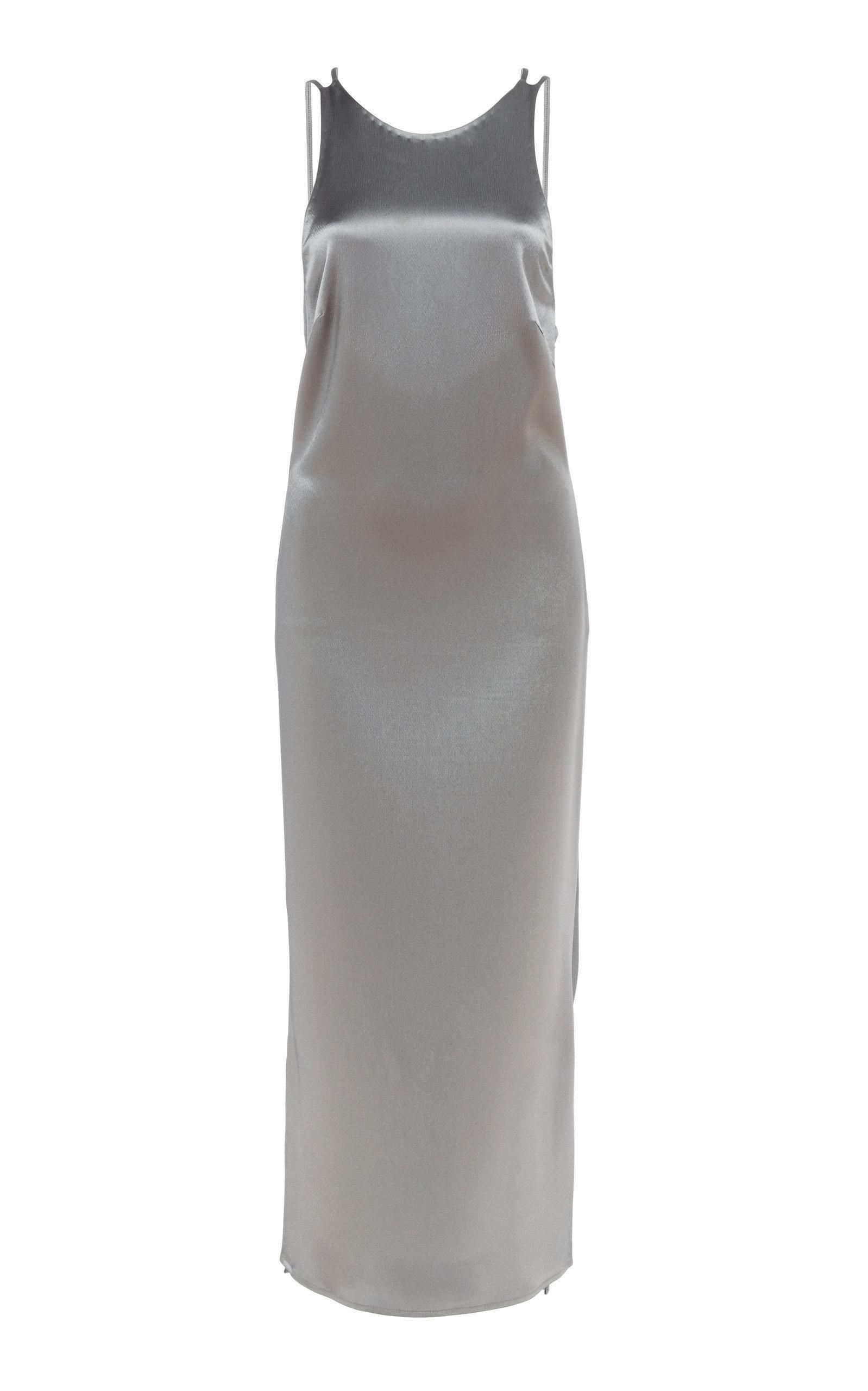 ec3148f5f371 Deveaux Draped Satin Slip Dress In Grey | ModeSens