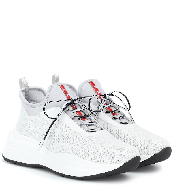 Prada Knit Lace-Up Trainer Sneakers In White