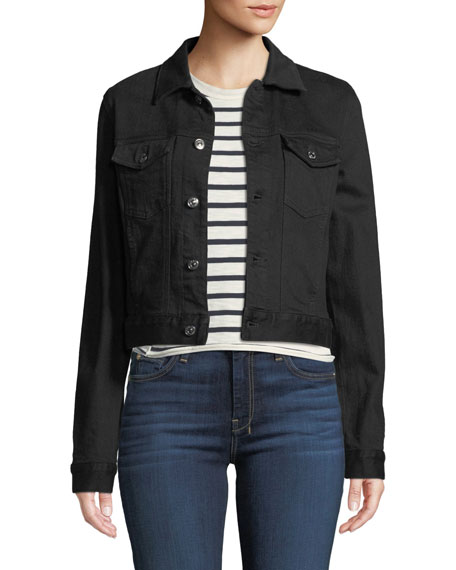 7 For All Mankind Cropped Denim Jacket With Beaded Fringe In Black