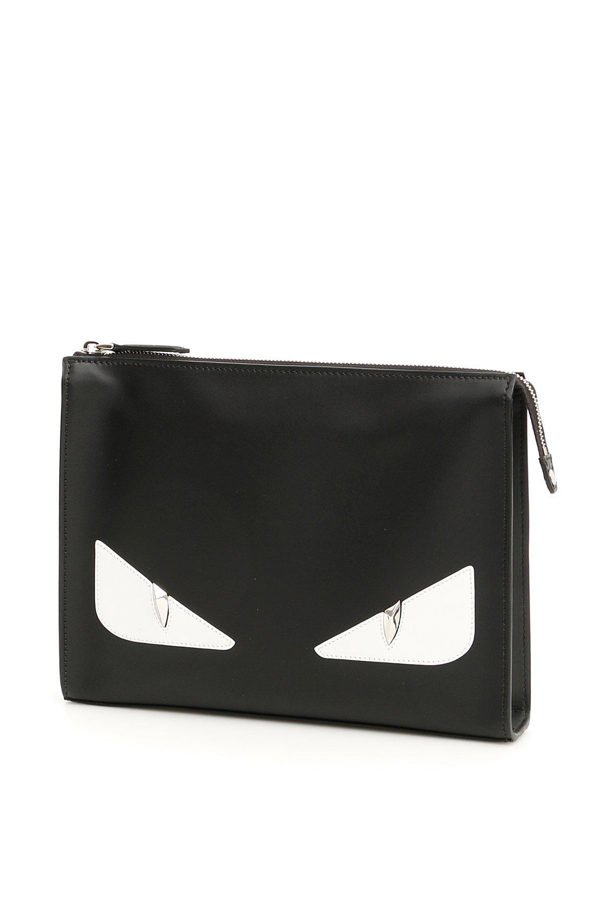 e2e00c1312ec Fendi Bag Bugs Leather Clutch Bag In Black. CETTIRE