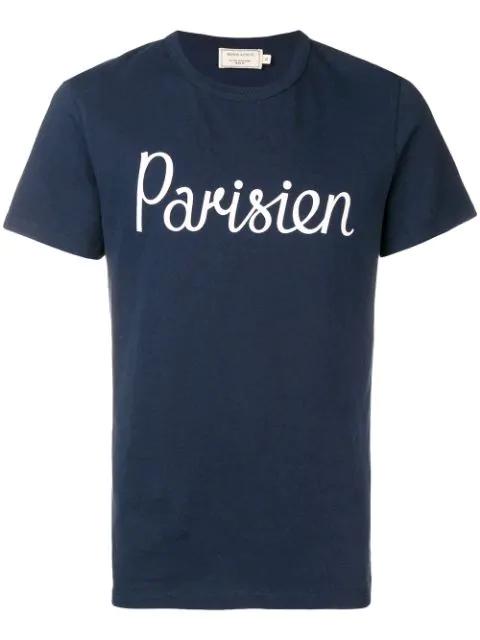 Maison Kitsuné Parisien Printed Cotton Jersey T-shirt, Navy In Blue