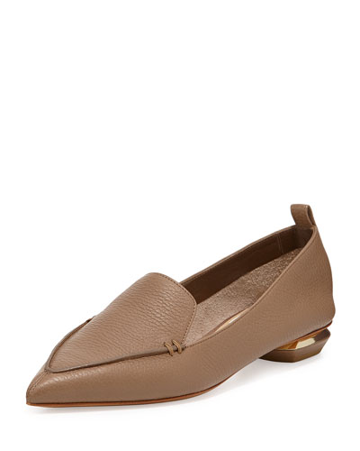 Nicholas Kirkwood Beya Pebbled Leather Point-Toe Loafers In Light Pink