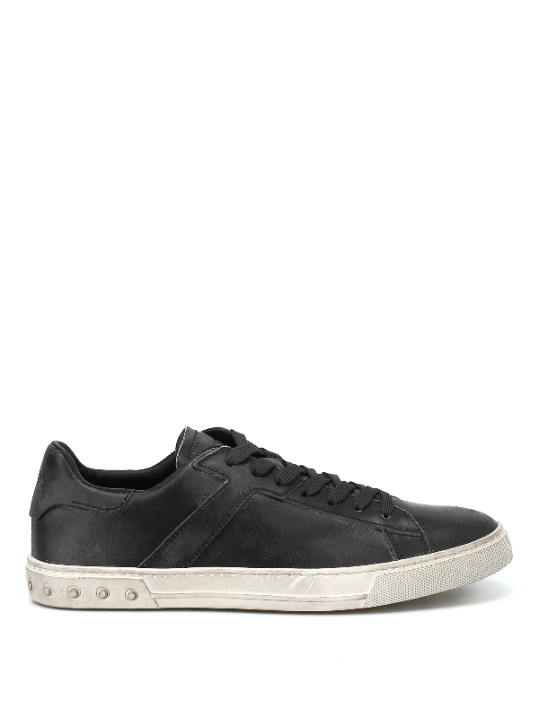 Tod's Used Effect Leather Low Top Sneakers In Black