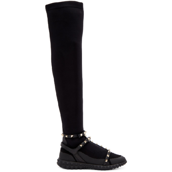 Valentino 黑色  Garavani Rockstud 过膝运动鞋 In Black