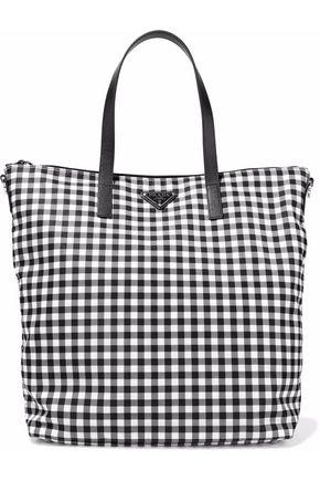5f4e1641abc34f Prada Woman Leather-Trimmed Gingham Shell Tote Black | ModeSens