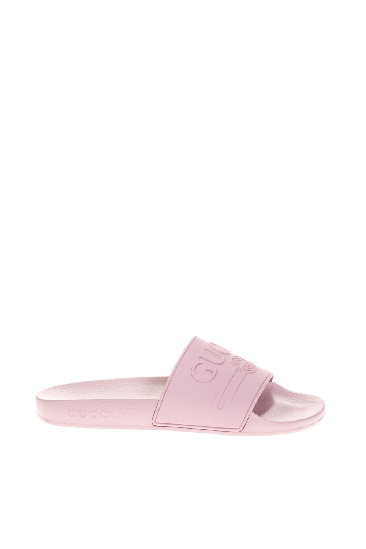 45d3d9e25c9 Gucci Logo Rubber Slides In Rosa