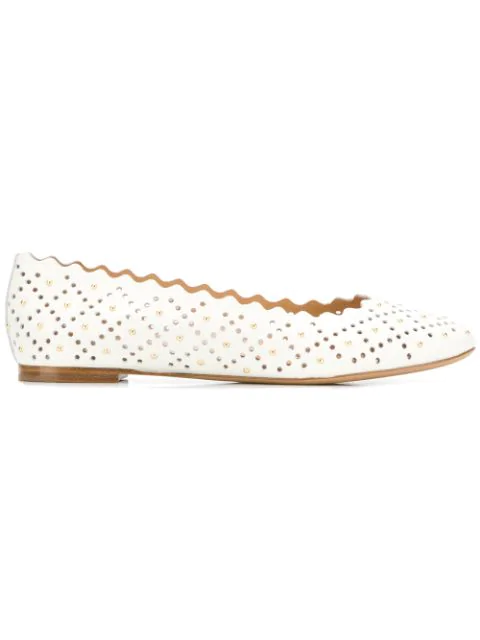 ChloÉ Lauren Scalloped Studded Laser-Cut Leather Ballet Flats In 119 Natural White