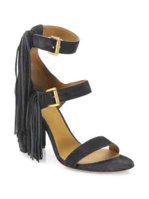 Ann Demeulemeester Fringe Leather High-Heel Sandals In Black
