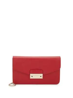 Furla Leather Shoulder Bag In Cabernet