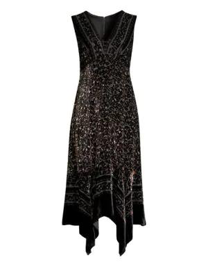 8c8f5fa197b Nanette Lepore Aroma Leopard Burnout Velvet Midi Dress In Black Multi