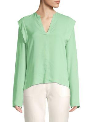 Derek Lam Long Sleeve Ruffle Silk Blouse In Pistachio