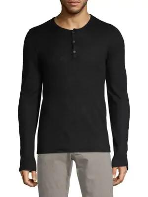 John Varvatos Textured Long-sleeve Henley In Black