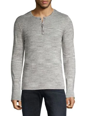 John Varvatos Textured Long-sleeve Henley In Light Grey