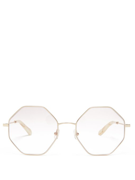 1eec9cdea994 ChloÉ Poppy Hexagon-Frame Glasses In Gold