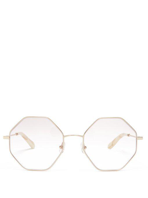 25b51b7e63e ChloÉ Poppy Hexagon-Frame Glasses In Gold